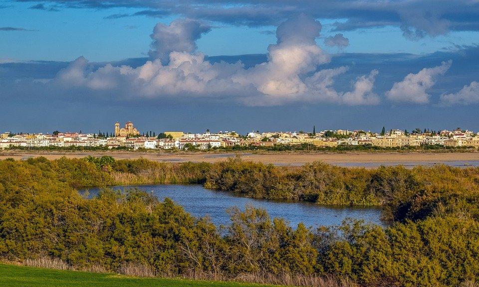 Cyprus, Paralimni, Town, View, Lake, Scenery, Landscape