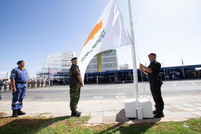 Defence Ministers of Greece and Serbia at military parade marking Cyprus Independence Day