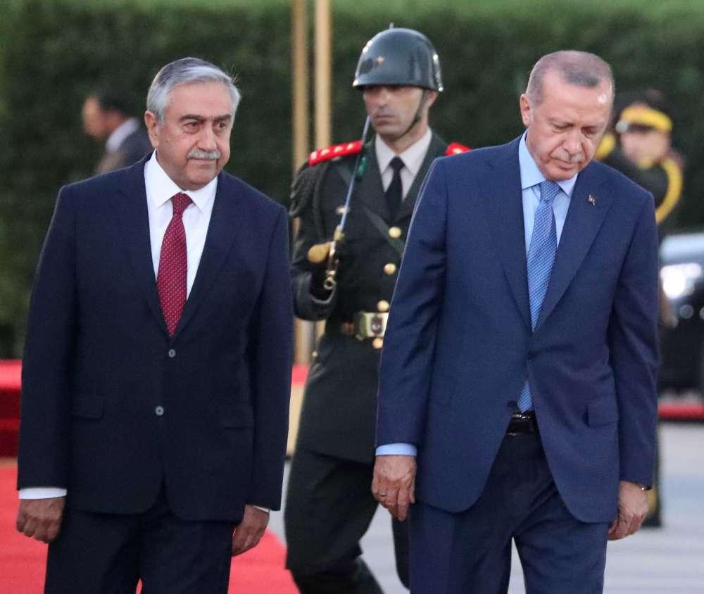 Akinci reiterates demands on Cyprus' EEZ as Erdogan visits
