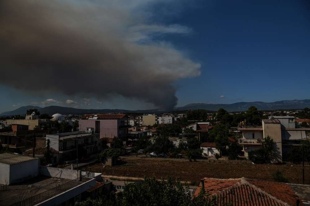 Wildfire rages on Greek island of Evia