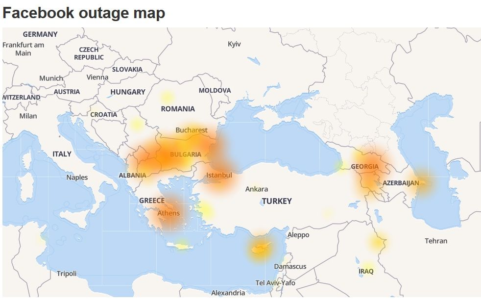 Facebook outages in Europe