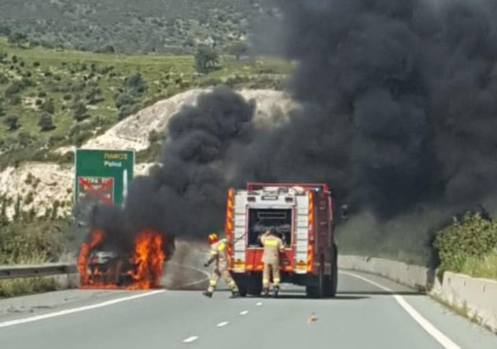 Part of Limassol-Paphos motorway closed because of fire