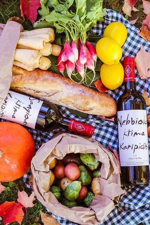 Food, Picnic, Bread, Wine, Parsnips, Radishes, Lemons