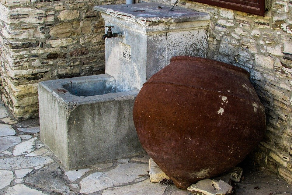 Fount, Container, Clay, Street, Village, Cyprus