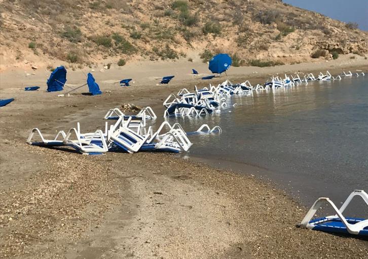 Vandalism at Paralimni's Glyki Nero Beach