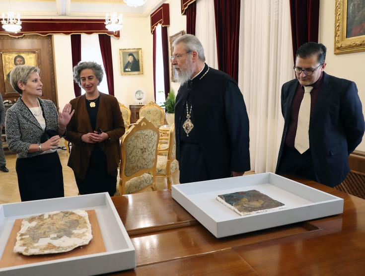 Fragments of looted frescoes repatriated in Nicosia