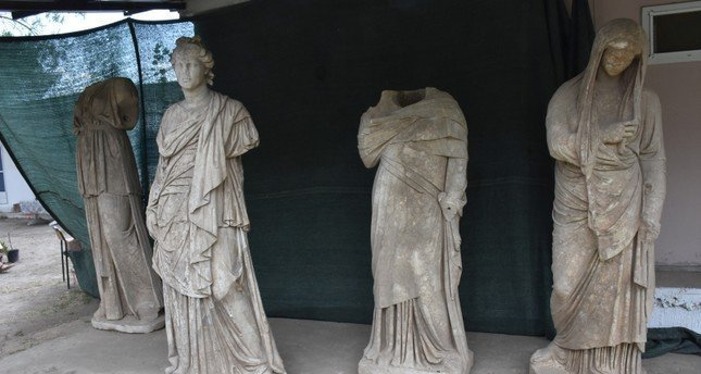 Six ancient Greek statues discovered in southwestern Turkey