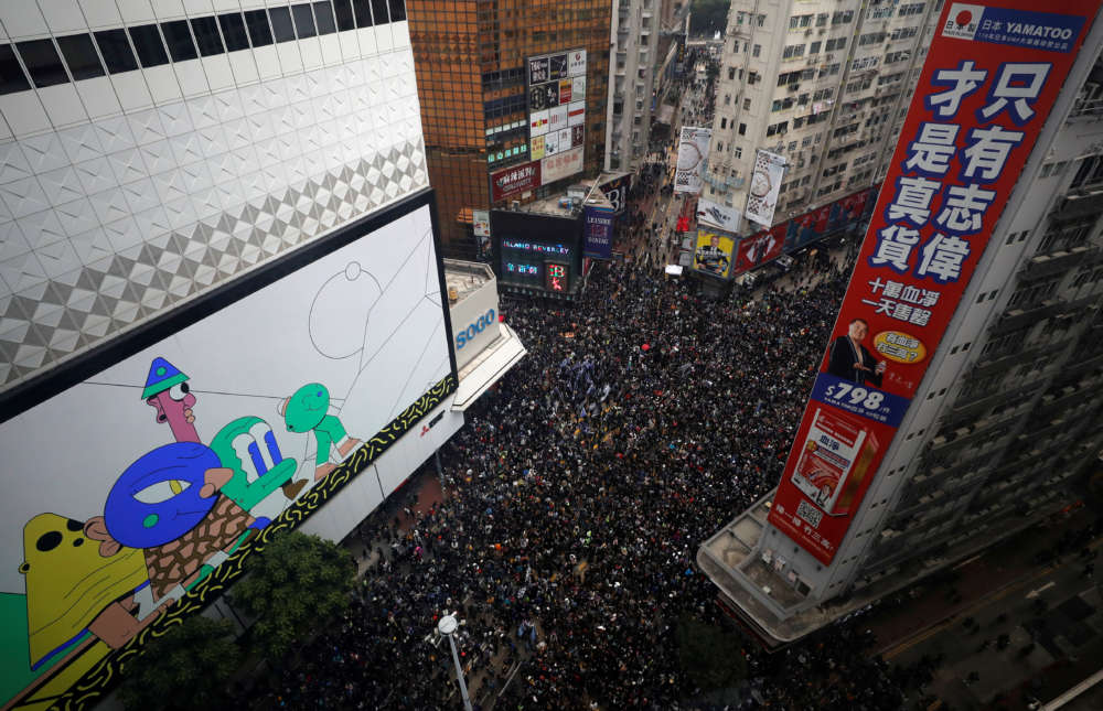 Thousands march in Hong Kong on New Year's Day