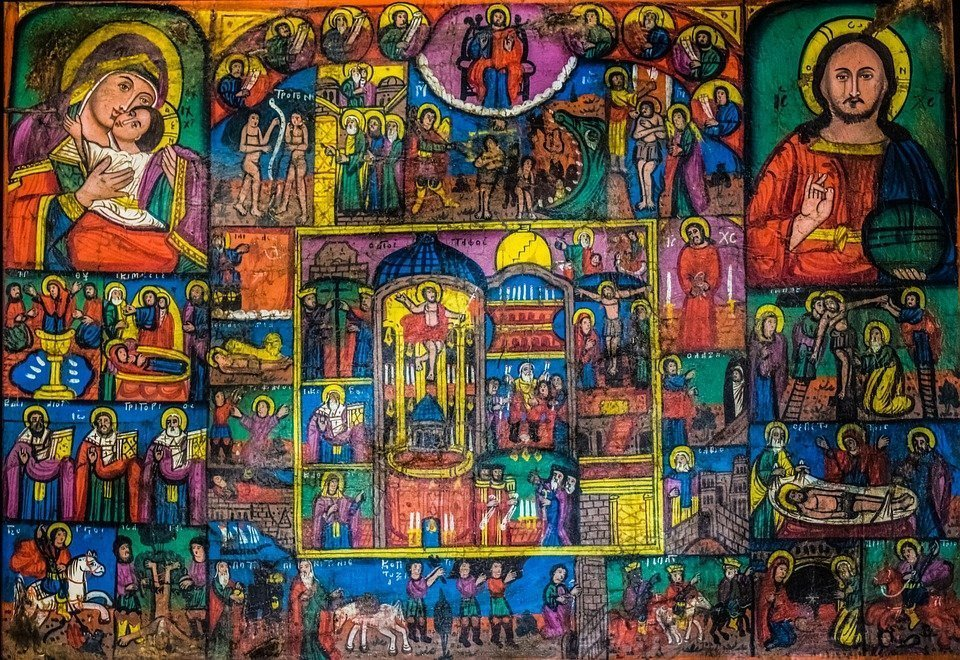 Icon, Wooden, Colorful, Popular, Folksy, Church