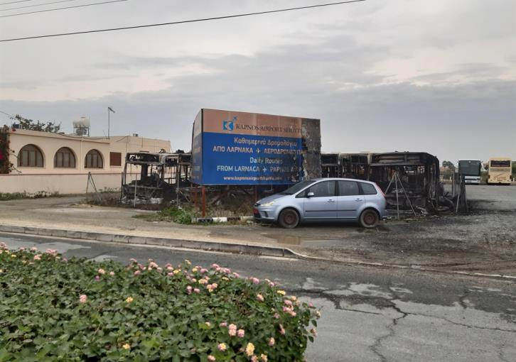 7 buses and a minibus totally destroyed by fire believed to be arson