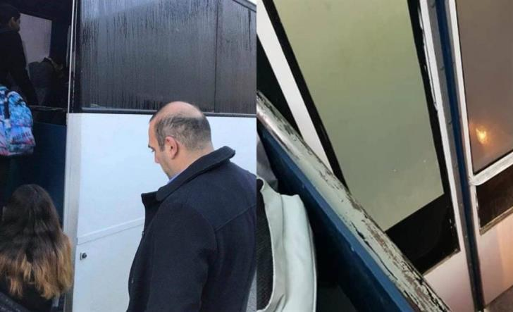 Karousos checks out school bus for himself