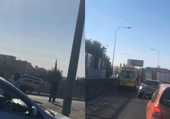 Car overturns in Limassol (photo)