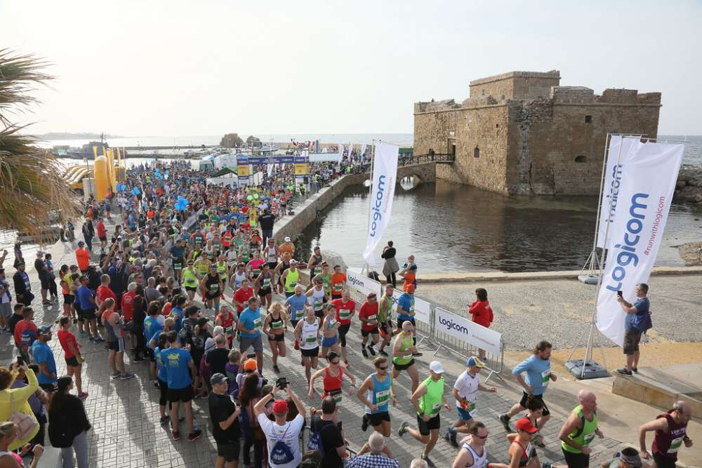Which roads will be closed during the Paphos marathon?