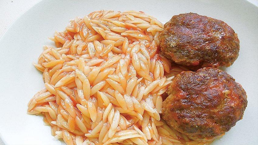Meatballs & orzo (kritharaki)