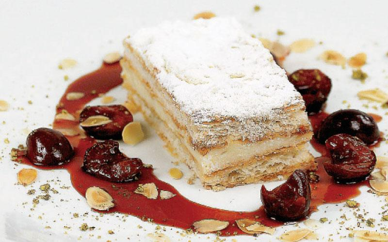 Millefeuilles with mastic cream and cherries with Commandaria