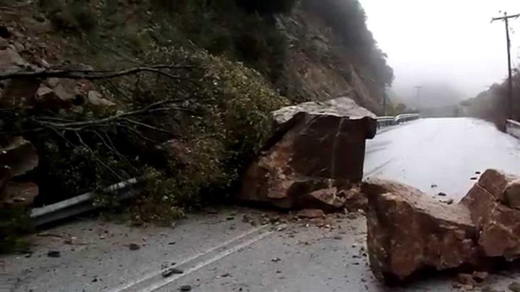 Rockfalls because of rain on Yerasa-Kalo Chorio road