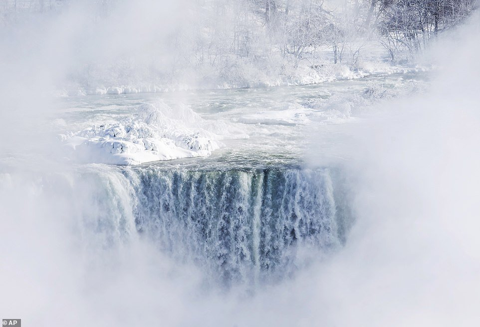 Niagara Falls partially freezes as deadly polar vortex hits the Northeast
