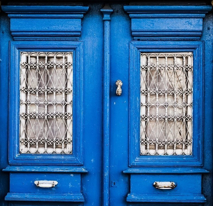 Old House, Neoclassic, Door, Blue, Wooden, Traditional