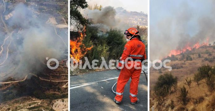 Reinforcements sent in as fire near Pachna continues to rage