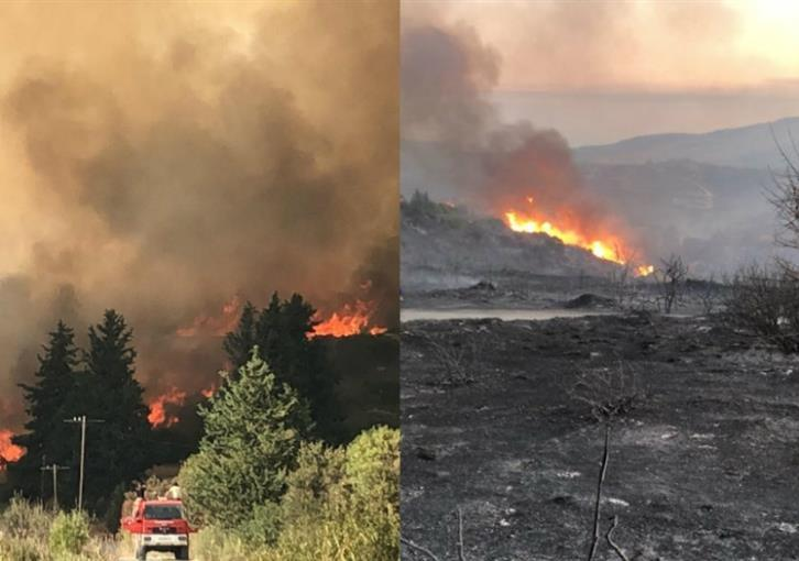 Fire near Pachna partly contained;  risk of flare up remains