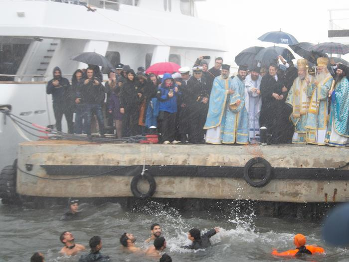 Paphos: Blesssing of the waters goes ahead despite rain and cold