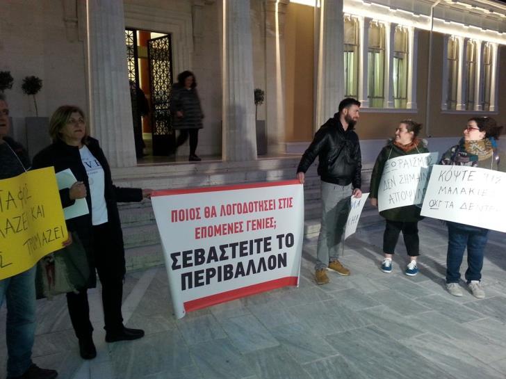 Paphos citizens protest destruction of environment outside municipality