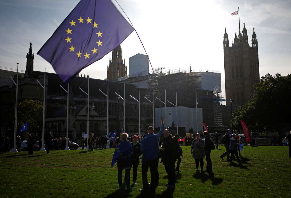 Protesters outside Westminster as parliament discusses Brexit deal