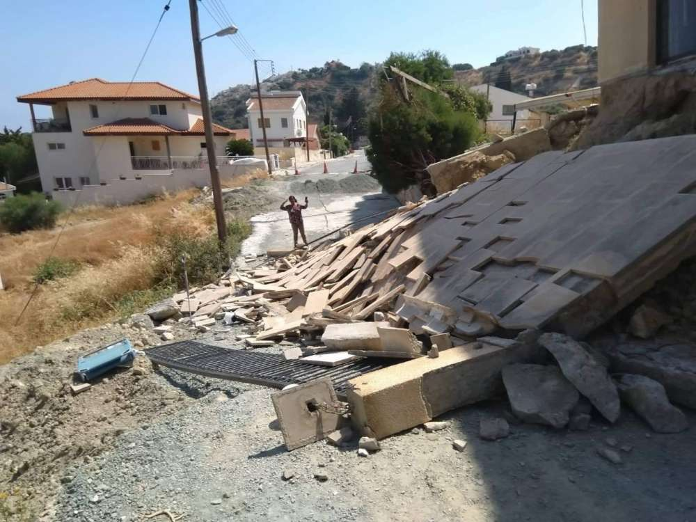 Homeowners forced out of Pissouri residence after wall collapses