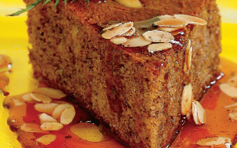 Ravani chocolate cake with honey-Commandaria sauce