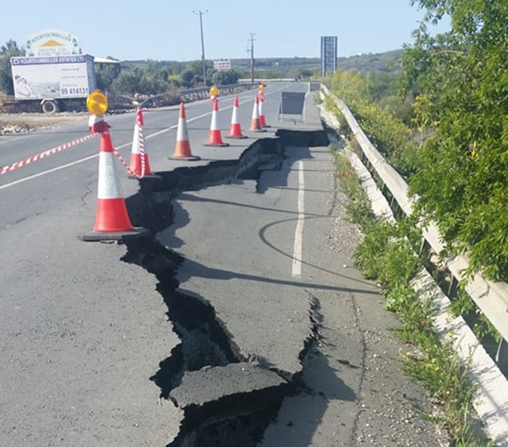 Rain blamed for damage to Paphos-Polis road (photos)