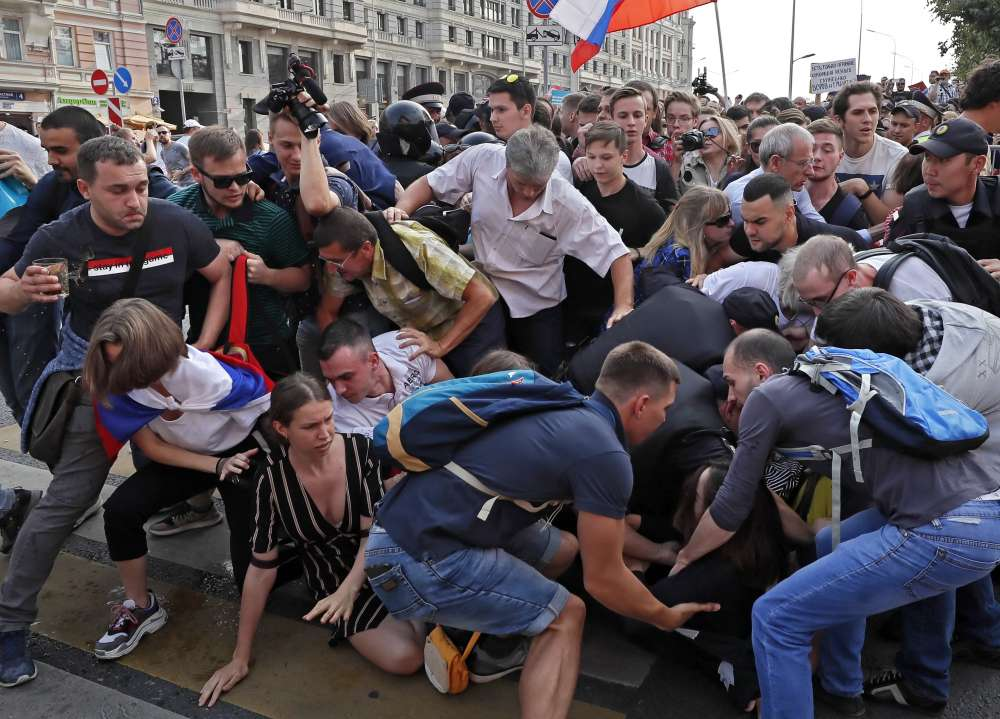 Russian police detain nearly 300 protesting against pension reform - rights group