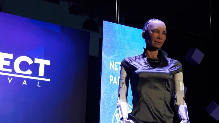 Sophia the robot says she loves Cyprus and is proud of her Greek name