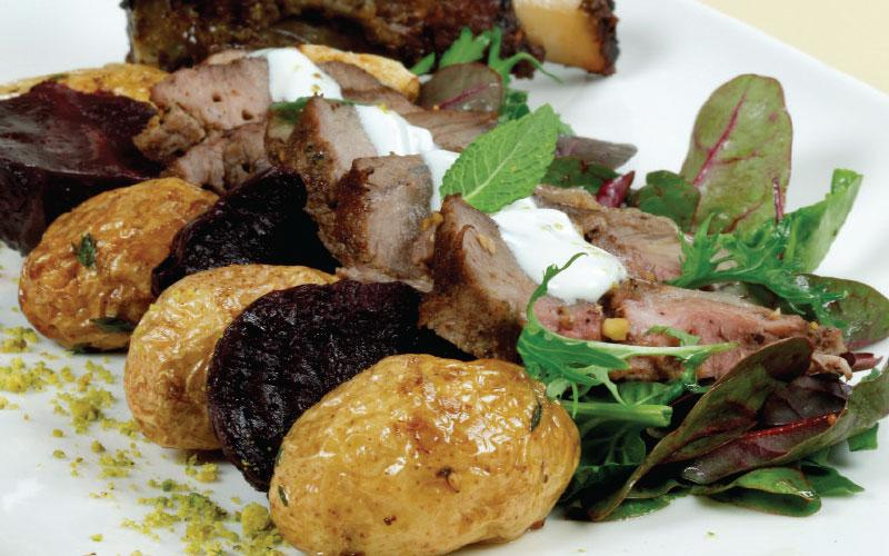 Spiced lamb with beetroot salad and scented yoghurt