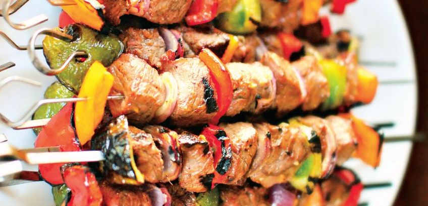 Marinated beef souvlaki