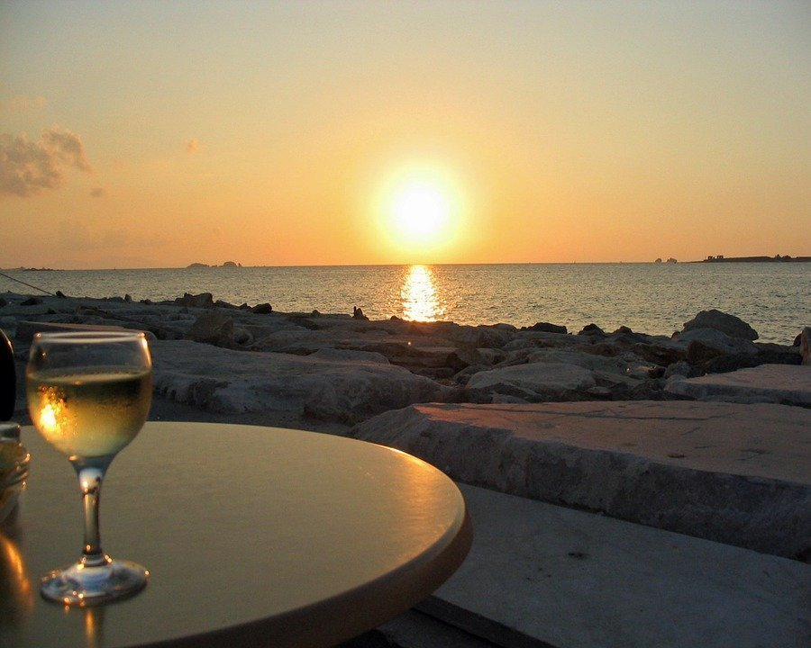 Sunset, Sea, Wine Glass, White Wine, Abendstimmung