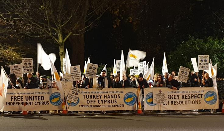 UK Cypriots picket Turkish embassy against pseudo-state UDI