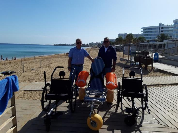 Eight beach wheel chairs for Paralimni