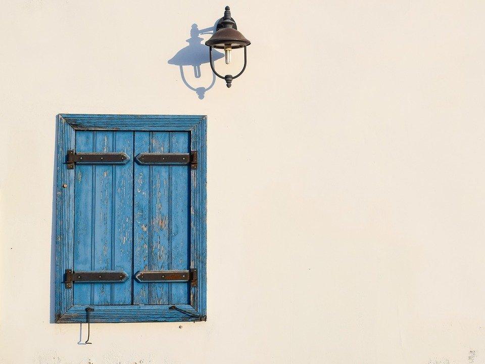 Window, Blue, Lamp, Wall, White, Architecture