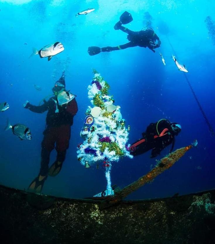 Zenobia wreck goes festive for Christmas
