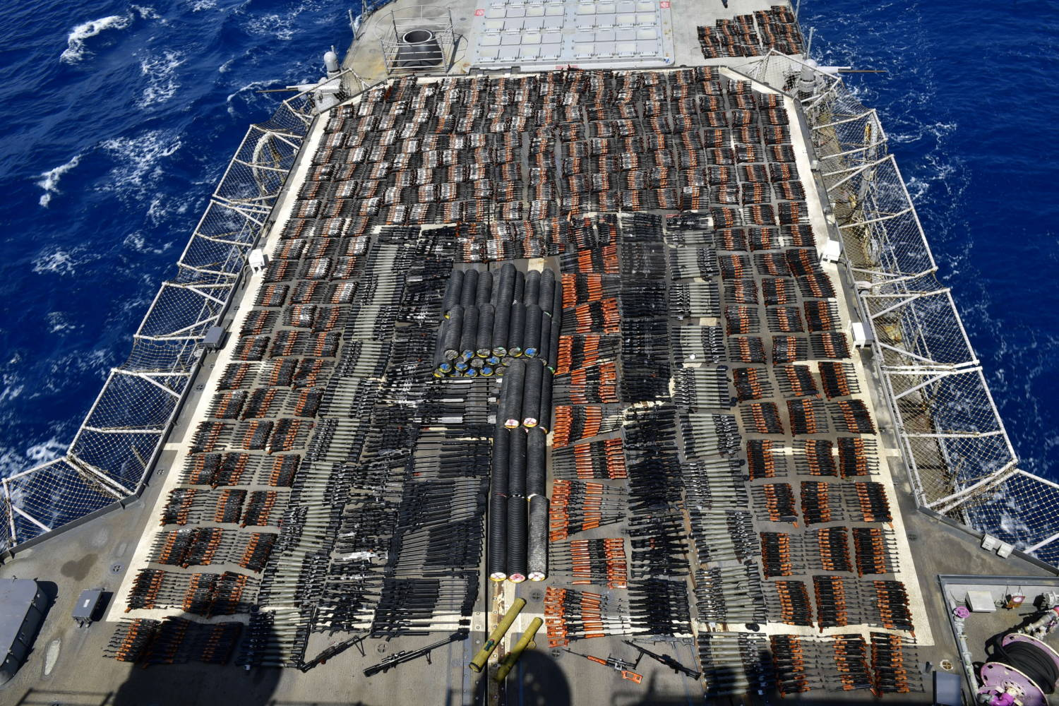 U.S. 5th Fleet seizes weapons shipment from stateless dhow in Arabian Sea