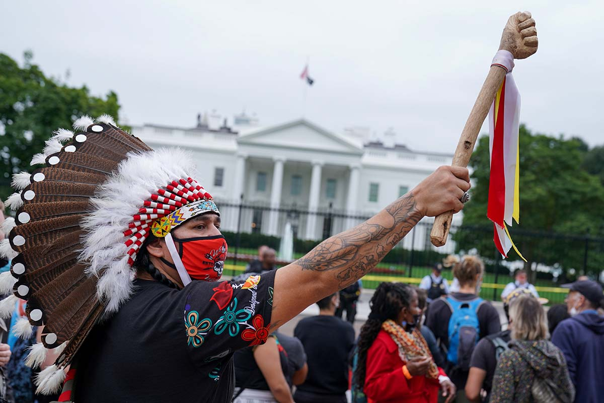 Indigenous Peoples' Day Protest Outside White House