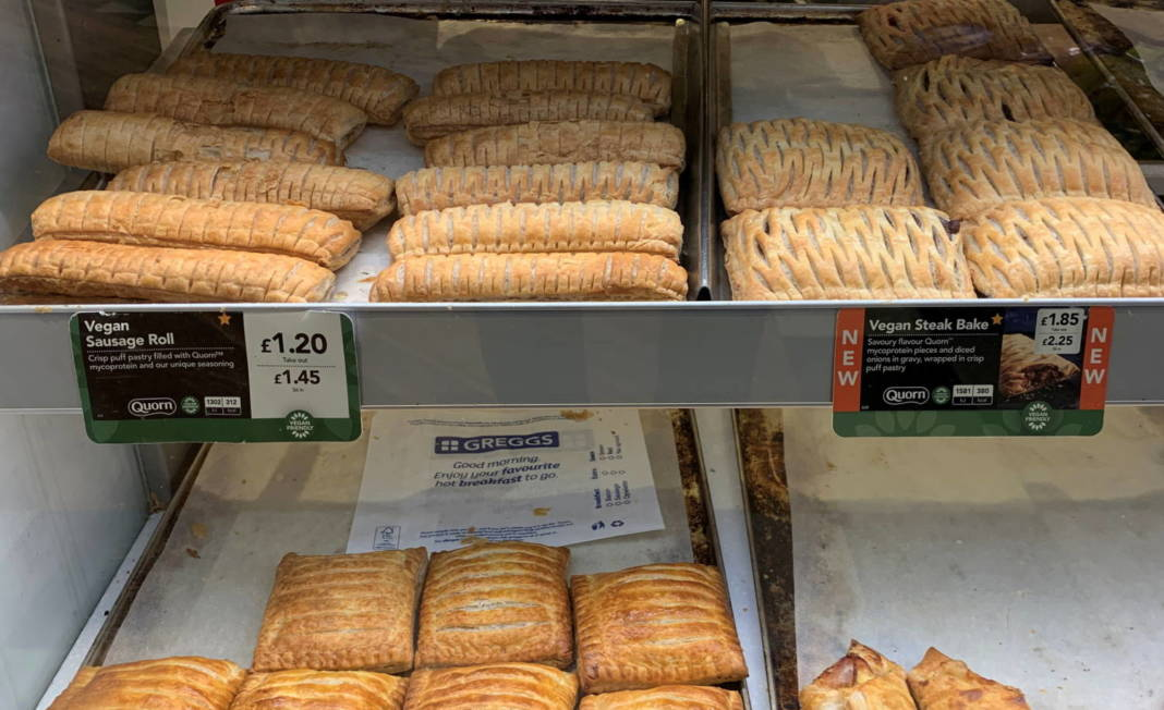 File Photo: Vegan Sausage Rolls And Steak Bakes Are Seen For Sale In A Greggs Bakery Near Manchester